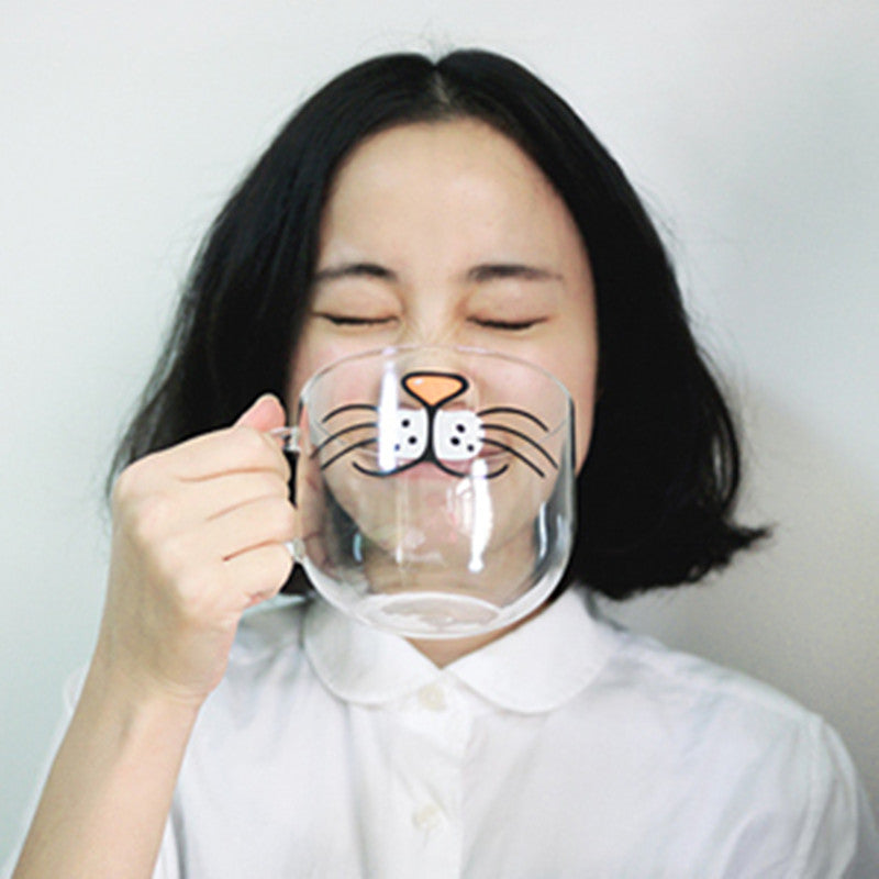Lovely cartoon glass transparent water cup YV2308