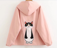 Cute cat embroidery hoodie sweater coat YV2473