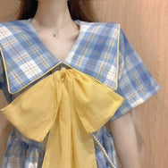 College style sweet plaid dress yv43237