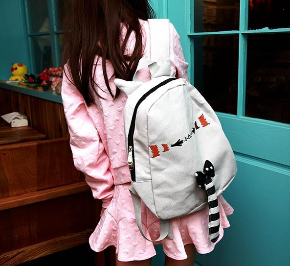 Pink/Black/Grey Kawaii Neko Cat Backpack With Tail  YV16056