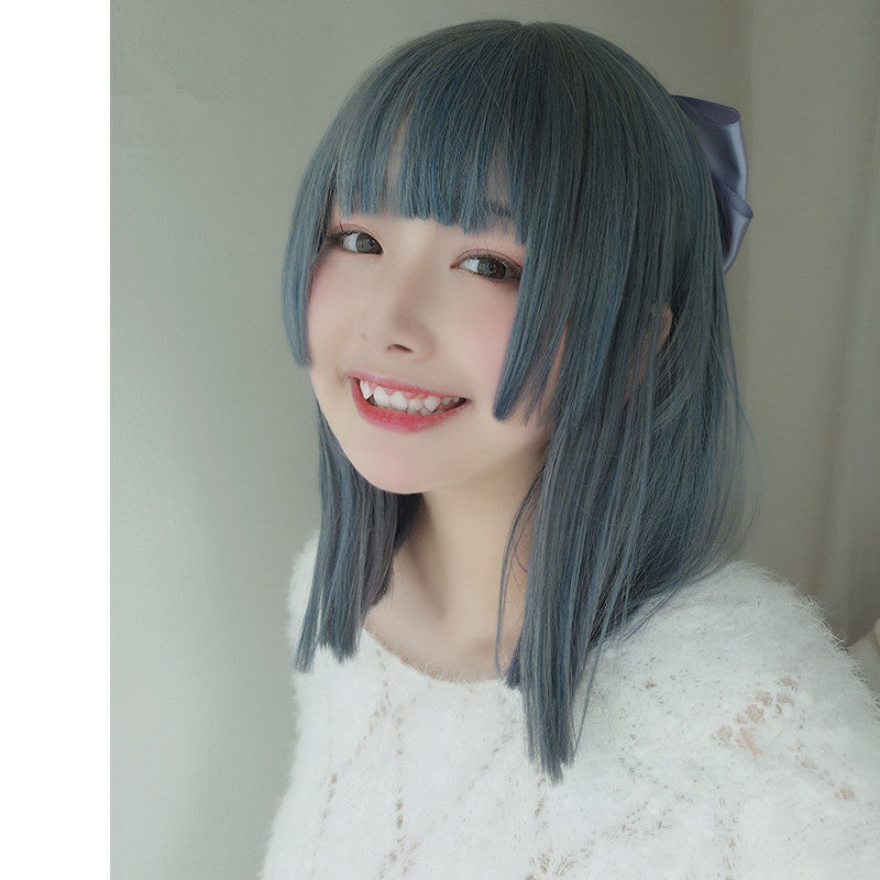 lolita gray blue straight wig YV42996