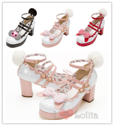3 Colors Lolita Kawaii Bow High-heel Shoes YV2255