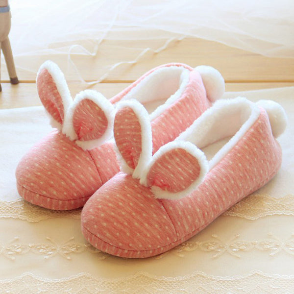 Pink wave point small rabbit ears home shoes floor shoes YV2179