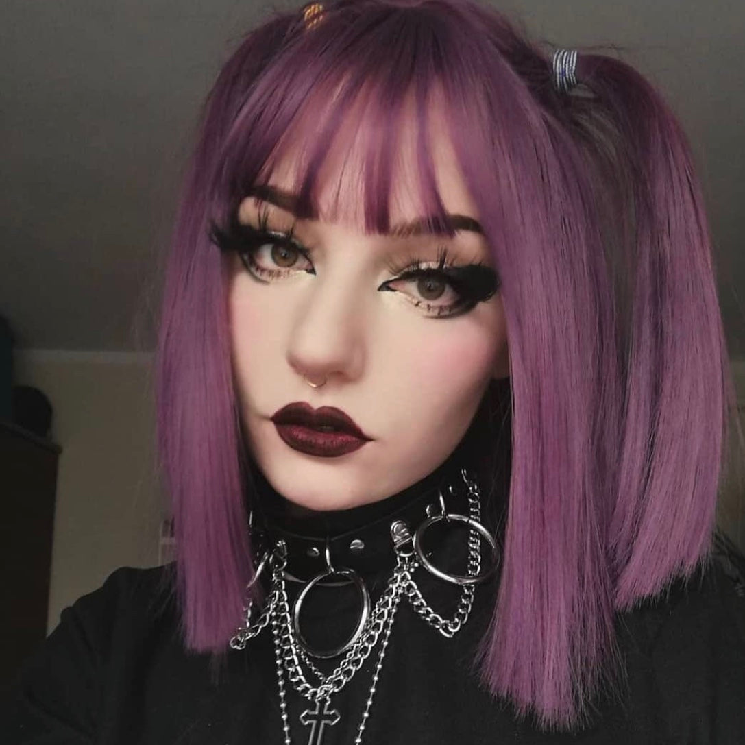 Review for Harajuku Purple Mid-length Wig YV43558