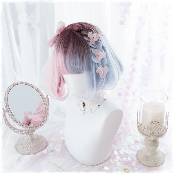Lolita blue pink gradient cos wig yv40603