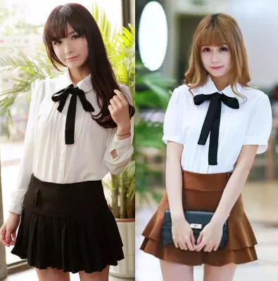 Cute students bowknot tie sweet chiffon blouse   YV16040