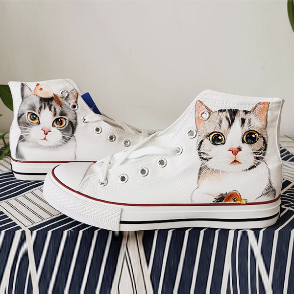 Cute Cat Hand-Painted Shoes Yv42654