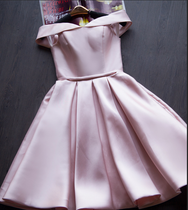 Pink Satin Off The Shoulder Short Party Dress YV17053