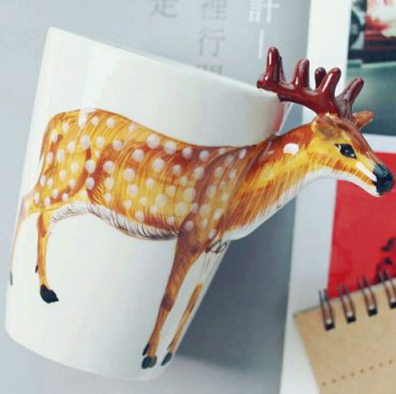 3D Cartoon Elk Ceramic Coffee Cup YV192