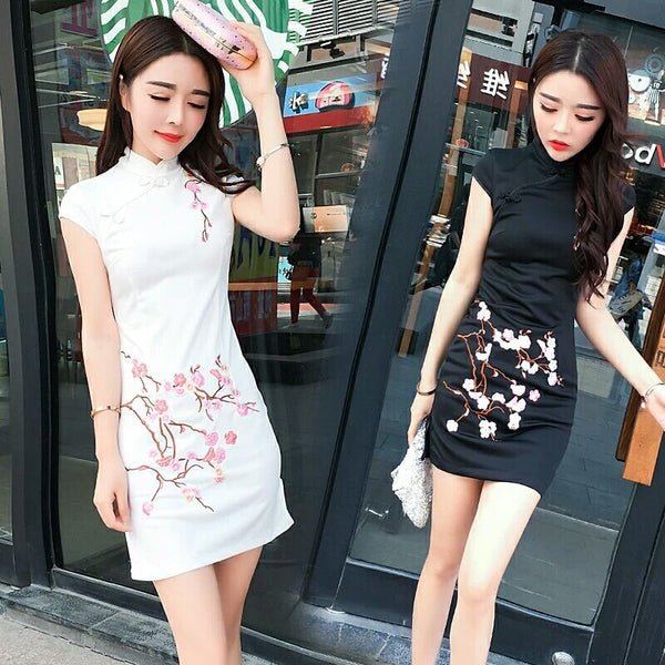Embroidery slim art dress yv515
