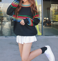 Korean Rainbow Striped Kint Sweater College Trendy Pullover YV5090