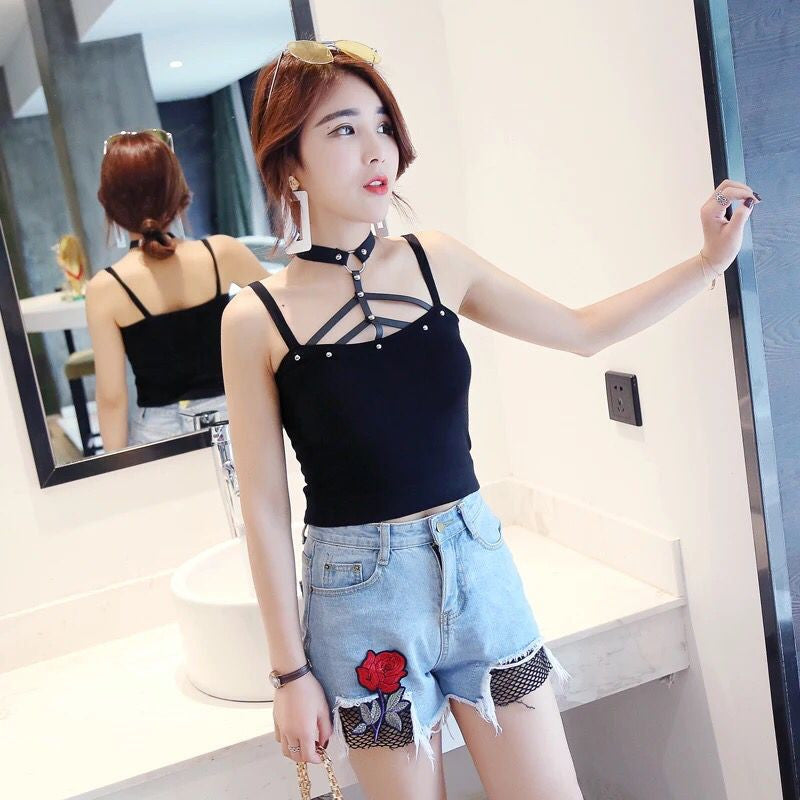 Rivet strapless sleeveless vest YV556