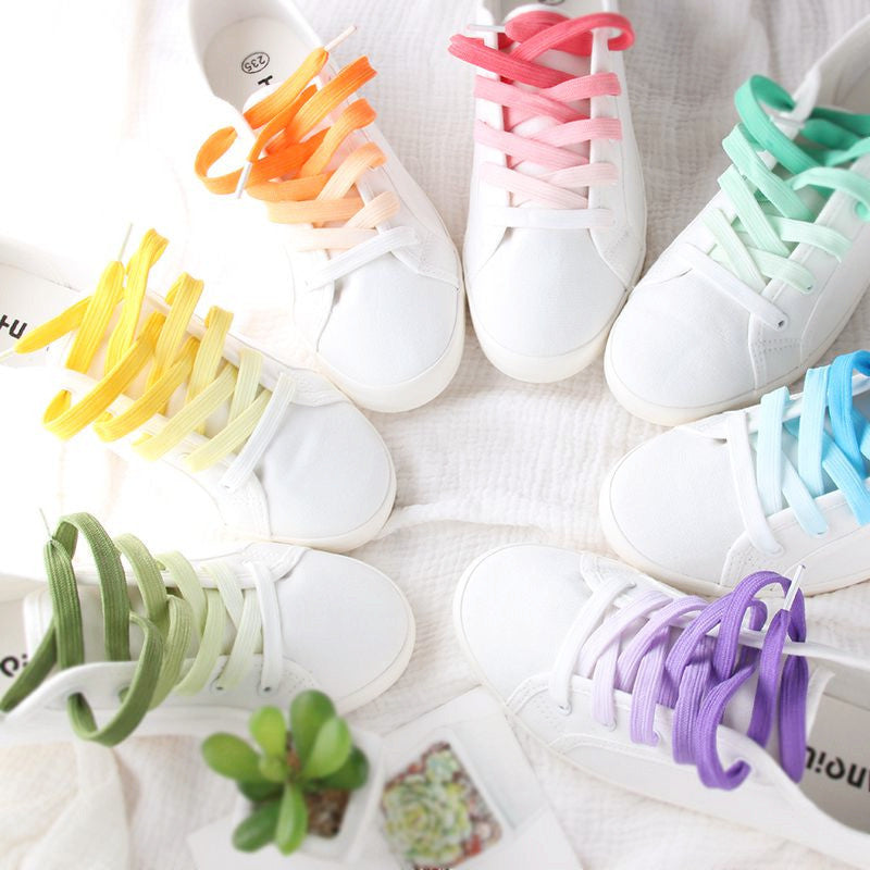 Gradient Shoelace Flats Korean White Canvas Shoes YV477