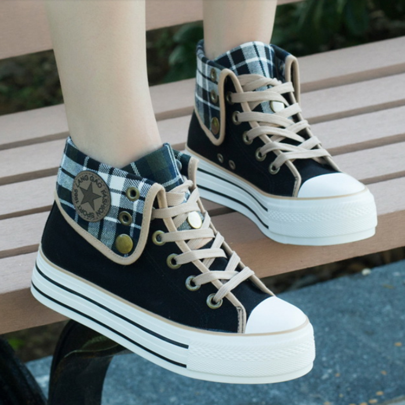 Korea fashion cute grid platform shoes  YV2027