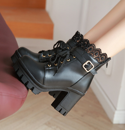 Cute  lace pu heels boots  YV5035