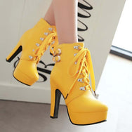 Fashion Pu Leather High Heels British Martin Boots YV5071