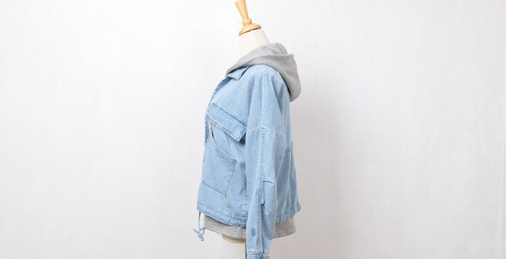 Vintage leisure hooded two pieces denim jacket YV8084