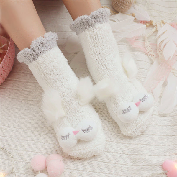Coral velvet cartoon cute warm socks YV40846