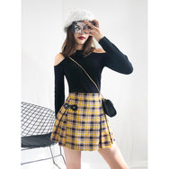 Yellow plaid pleated skirt YV41127