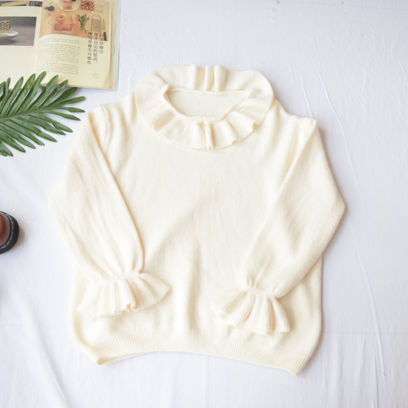 Lotus Leaf Puff Sleeve Sweater YV40804
