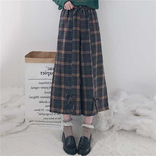 Retro high waist plaid pants yv42643
