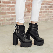 Punk fashion black high heels YV40916