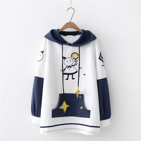 Cartoon print hooded sweater YV43676