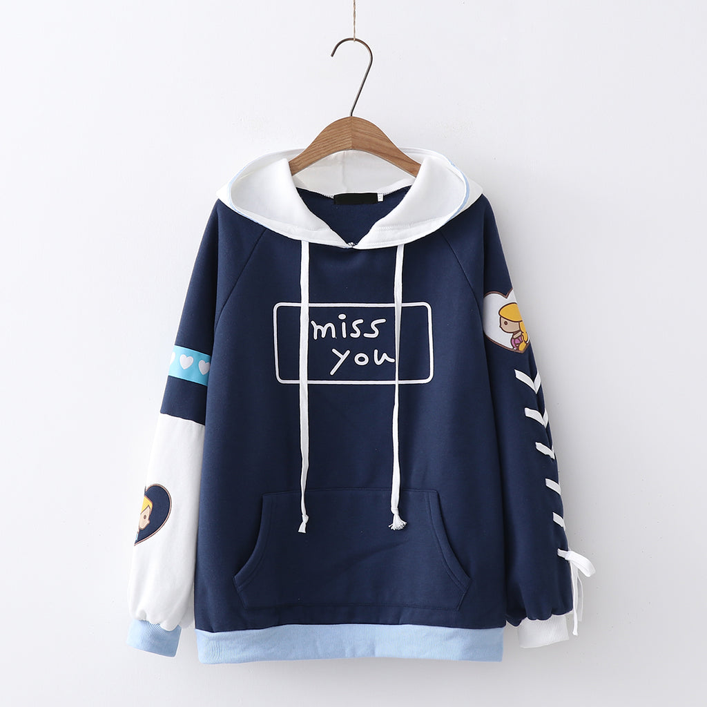 "Japanese ""miss you"" hooded sweater yv40549"