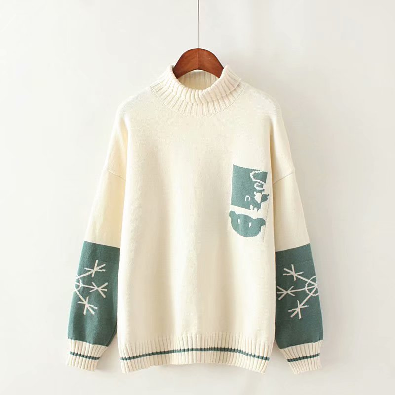 Cute cartoon snowflake high neck sweater YV40840