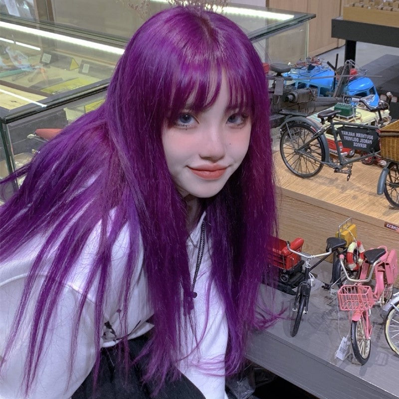 Purple long straight hair wig YV43689