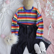 Rainbow Stripe Knit Sweater YV40850