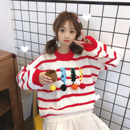Cute cat embroidery striped sweater YV40747