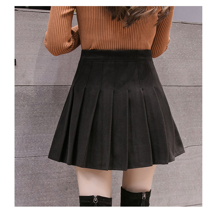 High waist woolen pleated skirt YV40873