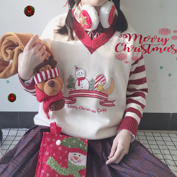 Lovely Christmas Cookie Striped Sweater YV40759