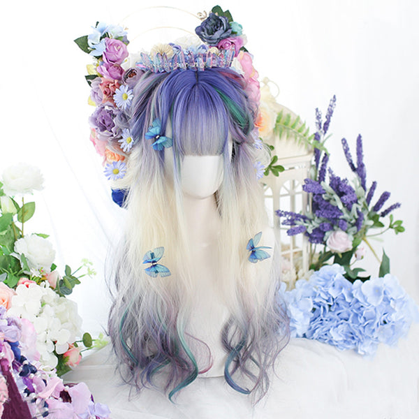 White gradient blue purple long curly hair wig YV43698