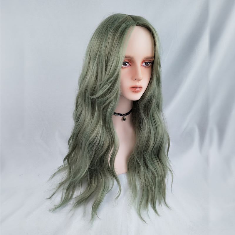 Youvimi green cute long curly wig YV42693