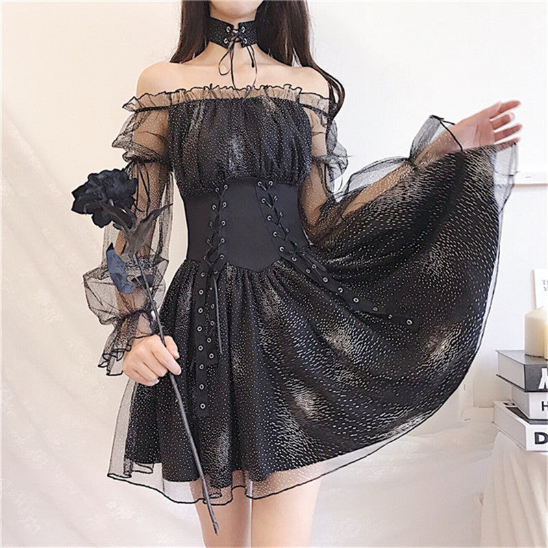Stars and Moon Mesh Dress YV43469