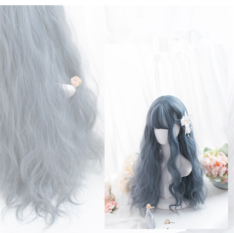 Blue gray long roll wig YV41026