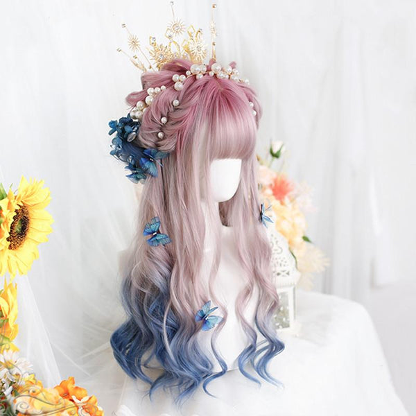 Lolita purple gradient blue long curly wig yv43604