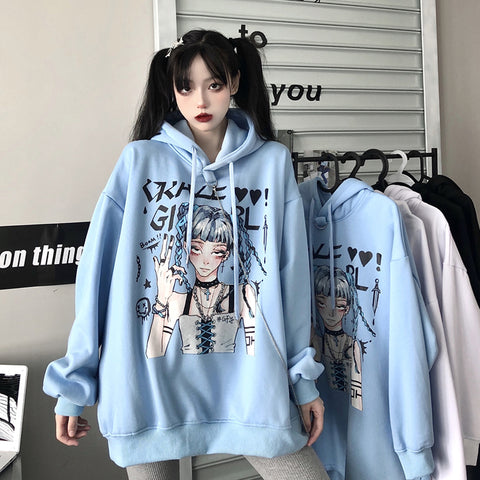 Anime print hooded mid-length sweater dress YV43611