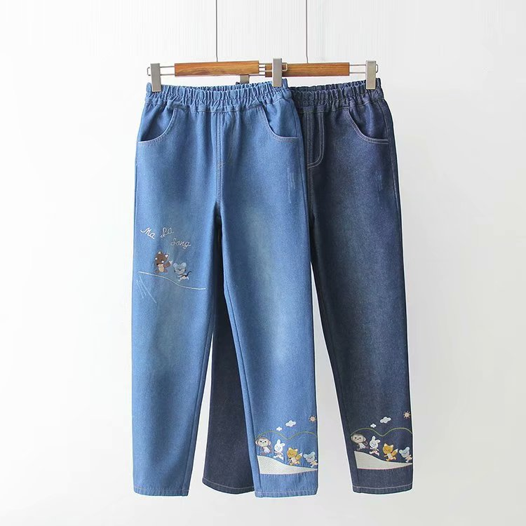 Cartoon animal embroidery and velvet jeans YV40853