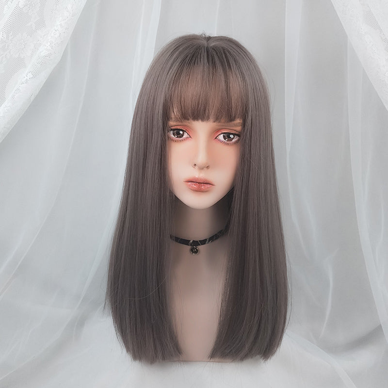 Lolita Grey Pink Long Straight Wig YV43551