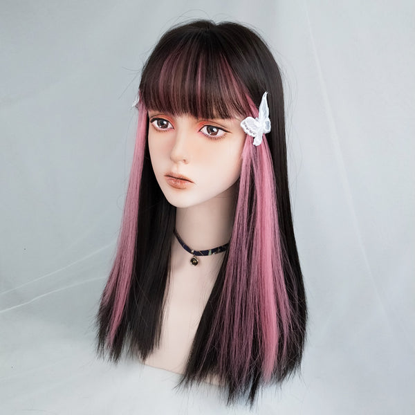 Harajuku black mixed pink long wig yv43601
