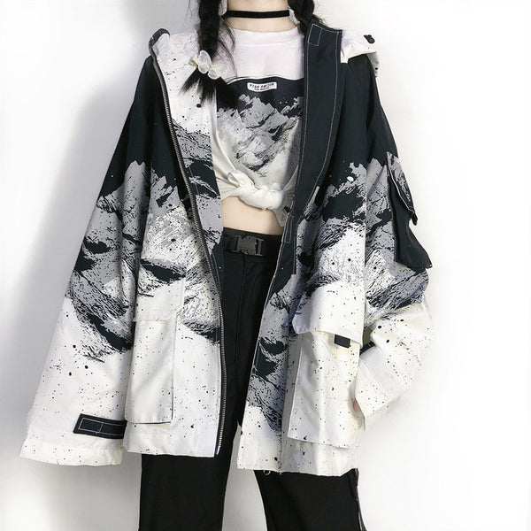 Harajuku black and white hooded jacket YV43596