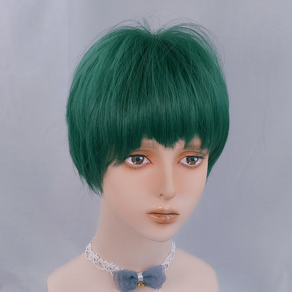 Handsome green short wig yv42913