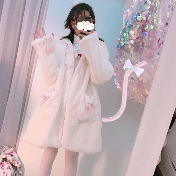 lolita cat ear plush coat yv43368