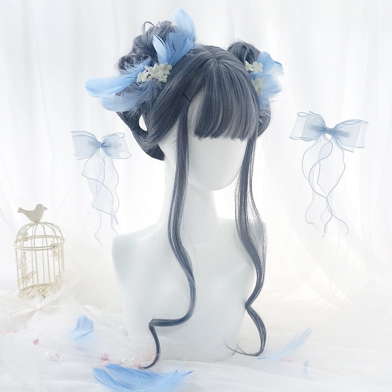 Lolita blue long roll wig yv42637