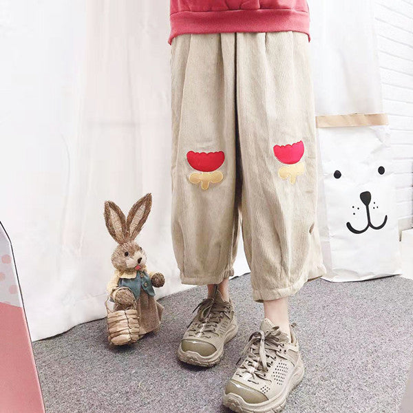 Japanese flower corduroy pants yv42728