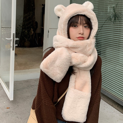 Cute bear hooded scarf YV43565