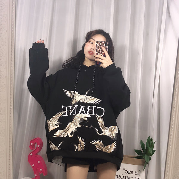Crane embroidery hoodie YV41075